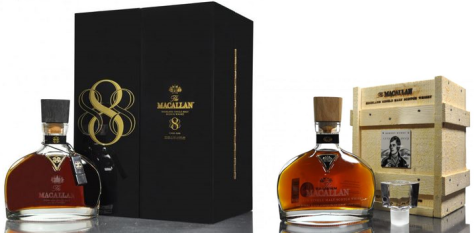 High performing Macallan decanters. 888 hit £4,500 and the Burns decanter achieved £2,350