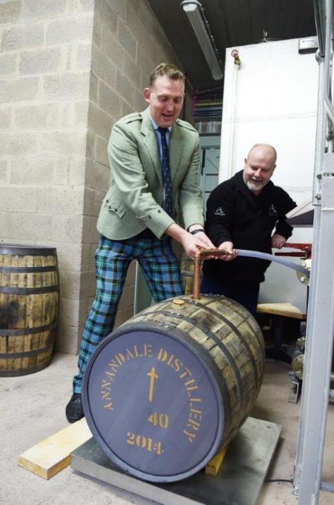 The £800,000 Cask #40 being filled at Annandale Distillery