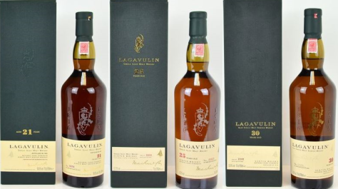 Lagavulin 21, 25 and 30 year old. 481.4% increase in value over retail prices