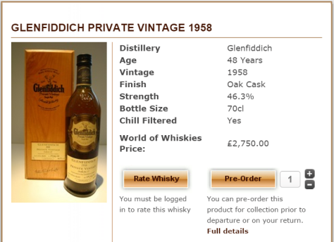 Glenfiddich 1958 current retail price. Cheaper than buying at auction
